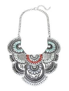 Sunburst Deco Bib Necklace