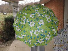 Ladies Vintage Retro/Mod Hippie Green Flowered Umbrella With Case 60's/70's