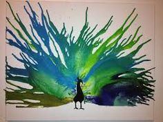 Image result for melted crayon art peacock