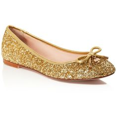 kate spade new york Willa Glitter Bow Ballet Flats ($198) ❤ liked on Polyvore featuring shoes, flats, gold, ballerina shoes, kate spade flats, kate spade, glitter shoes and ballerina flat shoes