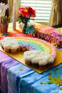 Make rainbow cupcakes into a rainbow cake for True and the Rainbow Kingdom party Rainbow Birthday Party, Unicorn Birthday Parties, First Birthday Parties, First Birthdays, Rainbow Unicorn Party, Rainbow Baby, Rainbow Parties, Cake Rainbow, Girl Birthday Cupcakes