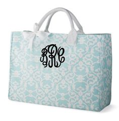 Fancy Circle Monogrammed Tote Bag in Aqua Damask - Personalized Canvas Tote Bag with Circle Monogram - Bridesmaid Tote Bags - Gift for Mom by PremiereEmbroidery on Etsy https://www.etsy.com/listing/180018467/fancy-circle-monogrammed-tote-bag-in