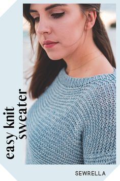 This knit sweater is easily made as a summer tee or lightweight sweater for year round wear. My free pattern is made of beginner stitches and simple construction for a quick and easy project. Free Knitting Patterns For Women, Sweater Knitting Patterns, Knitting Stitches, Knit Patterns, Knitting Sweaters, Crochet Baby Booties, Knit Crochet, Summer Knitting, Simple Knitting