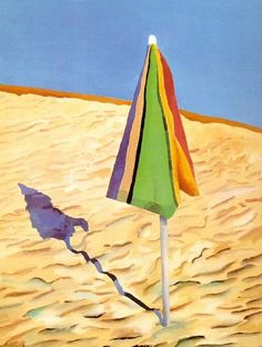 Beach Umbrella, United States, 1971, by David Hockney.