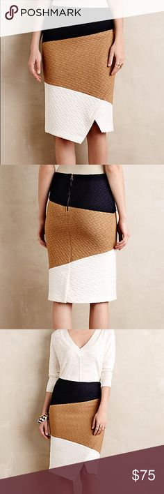 🎉host pick🎉Anthropologie Colorblock knit skirt Textured polyester-spandex knit, Slim, wrapped pencil silhouette perfect for work place. Back zipper. Reasonable offers always welcome💞 Anthropologie Skirts