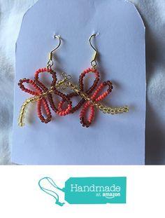 Brown Melon and Gold Seed Bead Dragonfly Earrings https://www.amazon.com/dp/B01MRYMF4V/ref=hnd_sw_r_pi_dp_otzvybH4GV0BJ #handmadeatamazon