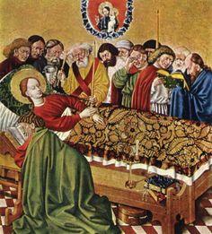 Master of the Albrecht Altar. The Death of Mary from the Albrecht Altar, c. 1438. Klosterneuburg Monastery, Austria.
