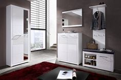 FLAMES BRW Entrance Hall furniture set. The roomy two-door tall cabinet, practical cabinets for shoes, one of which with a comfortable upholstered seat, two kinds of hangers, a large mirror allow you to equip a cozy hallway. Polish BRW Modern Furniture Store in London, United Kingdom #furniture #polish #brw #hallway #entrancehalls