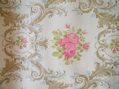 Vintage Shabby Chic Floral Wallpaper Sample by TextilesRUS on Etsy