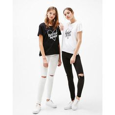 T-shirt imprimé Forever/Sister - Tee-Shirts - Bershka France Toddler Girl Outfits, Kids Outfits, Casual Outfits, Cute Outfits, Fashion Outfits, Bff Shirts, Outfits Tipps, Best Friend Outfits, Look Girl