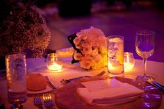 Love the soft purple glow #wedding #decorations #placesetting