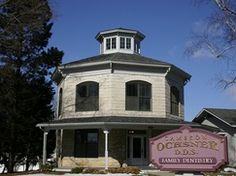 Barnes Octagon House - Waukon, IA   Constructed ca. 1865; stone Italianate style; 20 foot bedrock foundation, wall stones quarried from foundation.