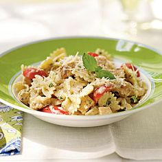 Grilled Chicken and Pesto Farfalle Recipe - have made this tons of times.  Most recently I used the sauce to put on chicken raviolis from Costco.  Just a warning though, it makes A TON of sauce.  So if you're cooking for 2, cut the recipe in half.