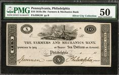 Farmers and Mechanics Bank ca.1830's Obsolete Proof. - Philadelphia, Pennsylvania, 18xx (ca.1820-30's), $10, Plate B, PA-430-G30, SENC, Unlisted in census, Proof banknote, black on india paper, Pennsylvania Arms in middle with plow, fruits and vegetables resting against a Greek column, Specimen and Philadelphia written in signature blocks, PMG graded About Uncirculated 50 condition, Murray, Draper, Fairman & Co. Imprint. (resilver City Collection, AIA Sale VIII) #Banknotes #MADonC