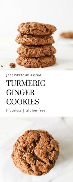 A delicious and healthier flourless cookie recipe filled with anti-inflammatory fresh turmeric, ginger, nutmeg and cinnamon.