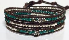 This Three Wrap Bracelet has Tiny Sterling Silver Skulls (3.5 mm) ,Emerald Green