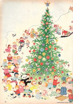 'Twas the night before Christmas! A playful illustration by Gyo Fujikawa for Family Circle 1961