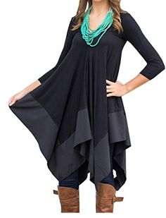 YINUOWEI Women Long Sleeves Loose Irregular Hem Casual Cotton Shirt Dress Blouse L Black >>> Learn more by visiting the image link.Note:It is affiliate link to Amazon.