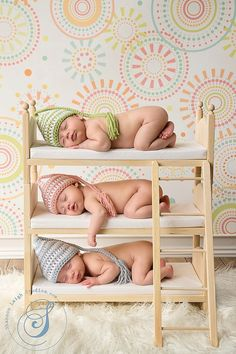 Newborn Triplets Photo Prop Triple Doll Bunk Bed Foam Mattresses And Ladder