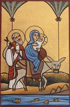 Holy Family Flight into Egypt Coptic Orthodox Icon Religious Images, Religious Icons, Religious Art, Orthodox Catholic, Catholic Art, Early Christian, Christian Art, Byzantine Icons, Ancient Egyptian Art