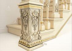 Нижняя часть резного парадного столба из массива дерева L-065. Fragment of a carved ceremonial pole. #лестница #декор #дерево #staircase #stairs #decor #wood #design