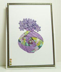 Iris Folded Card - Vase with Flowers
