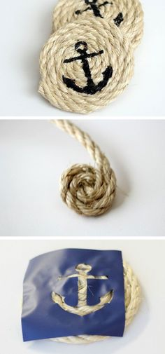 DIY Nautical Sisal Rope Coasters | 20 DIY Fathers Day Gift Ideas from Wife | DIY Holiday Gift Ideas for Men