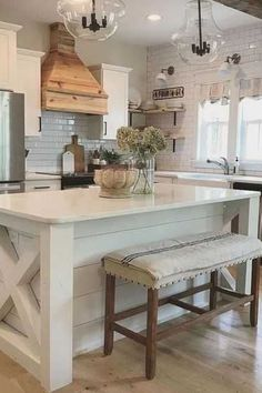 Fantastic Free Farmhouse Kitchen stools Suggestions Farmhouse kitchens blend a v., kitchen decor Fantastic Free Farmhouse Kitchen stools Suggestions Farmhouse kitchens blend a v. Farmhouse Kitchen Island, Kitchen Island Decor, Kitchen Stools, Modern Farmhouse Kitchens, New Kitchen, Home Kitchens, Kitchen Modern, Kitchen Ideas, Awesome Kitchen