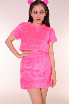 Image of Pink Gigi Furry 2 piece Set