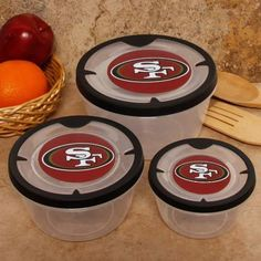Amazon.com : NFL San Francisco 49ers 3-Pack Round Food Containers : Sports Fan Notepad Holders : Sports & Outdoors Nfl 49ers, 49ers Fans, 49ers Birthday Party, Sf Forty Niners, Man Cave Room, Nfl San Francisco, Food Containers, Tupperware, Dog Bowls