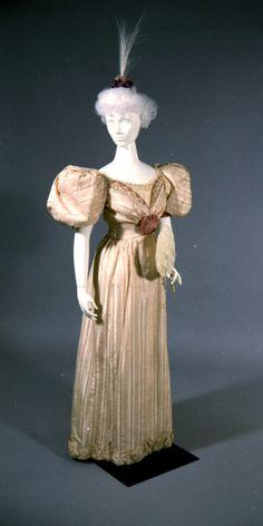Lavender and Cream Striped Taffeta Dress Made by Slater Sisters, St. Louis. (1892) Missouri History Museum #vintage #vintagefashion