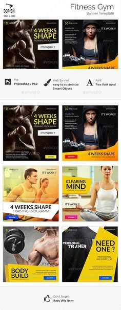 Buy Fitness Gym Banner by on GraphicRiver. Fitness Gymr banner is a web banner template contain various design for gym, sport shop, yoga, or healthy method busi. Web Design Tips, Gym Design, Banner Template, Gym Advertising, Advertising Design, Gym Banner, Yoga Muscles, Facebook Cover Design, Fitness Gym