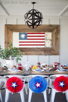 What could be better to decorate your 4th of July party with than this DIY Paint Stick American Flag craft? It's perfectly patriotic and wonderfully distressed!