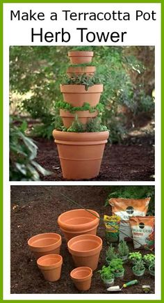 This container herb garden would be a great project for those that have little outdoor gardening space since it's designed vertically. You could do a tower of herbs you make teas with or do themed culinary pots (Italian/French/spicy). You could also add some nasturtiums (which are edible) for some color or make one tier lettuce –  there are so many ways you could use this space saving idea from Home Depot! You could grow quite a bit of herbs in this herb tower! I would try to group herbs…