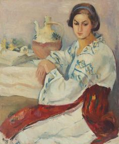 Ion Theodorescu-Sion - Xenia Lost In Thought, Art Archive, Paintings I Love, History, 1 Decembrie, Moldova, Bouquets, Art Ideas, Sunday