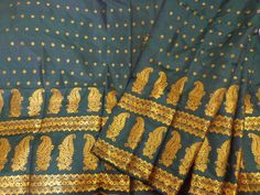 Assam Silk (Mulberry) Mekhela Sador - Dark Green Silk from Lal10.com