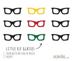 Free Printable Elf Retro Glasses.  dude. from See Jane Blog.