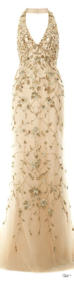 Marchesa ● Pre-Fall 2014, Embroidered Halter Gown
