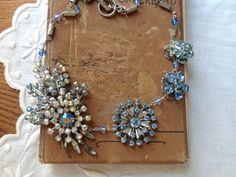 NECKLACE/ Rhinestone Necklace/ Brooch Necklace/ Bridal