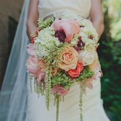 The bride carried carried a bouquet of coral peonys, vandella roses, green hydranda, parrot tulips, and fugi mums. Coral Peonies, Green Hydrangea, Pretty Flowers, Cascading Flowers, Long Flowers, Beautiful Bouquets, Hanging Flowers, Romantic Flowers, Vintage Flowers