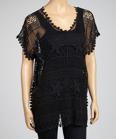 Take a look at this Black Crocheted Clover-Trim Top - Women by LV Collection on #zulily today! $25 !!