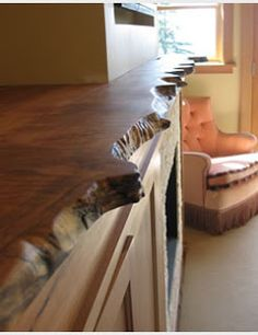 stone fireplace live edge mantle - Google Search