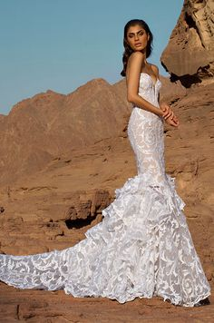 Pure white tulle mermaid gown with sequined lace appliques and ruffles. Pnina Tornai 2016 Wedding Dress Collection