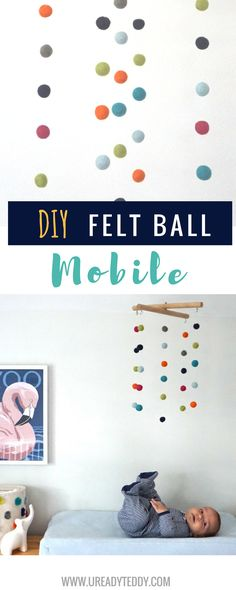 Easy DIY. Felt Ball Mobile. Colorful Nursery Decor. Anthropologie Knockoff. Baby mobile.