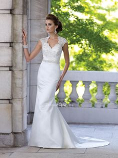 fit and flare lace bodice v neck wedding dress with satin skirt chapel train