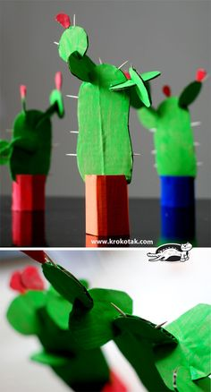 Cardboard cactus - card board, paint, toilet paper tubes, tooth picks