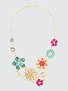 Multi-Tonal Beaded Flower Front Necklace Flowers, Jewelry, Style, Fashion, Latest Fashion, Swag, Moda, Jewlery, Jewerly