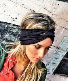 Black Stretchy Jersey Twisted Workout Headband - Turban Wide Hippie Boho Headband head bands Hair Coverings $24.50