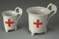 red cross teacups in two sizes