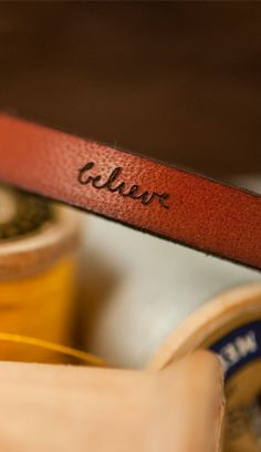 'believe' leather bracelet from Laurel Denise $23